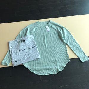 Waffle-Knit Shirt - American Eagle - Light Blue